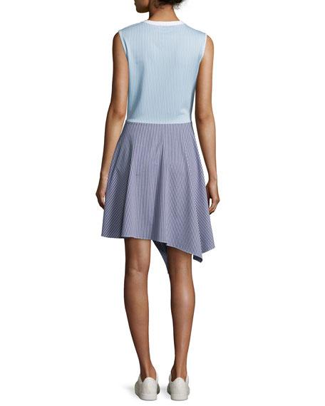 Cody Flare Striped Poplin Dress, Blue