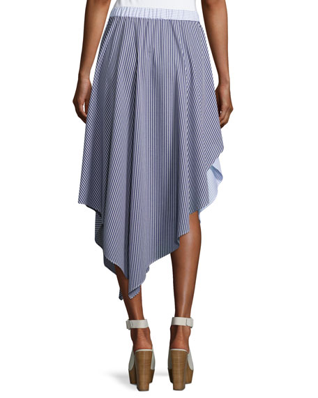 Cody Stripe Asymmetric Cotton Skirt, Blue