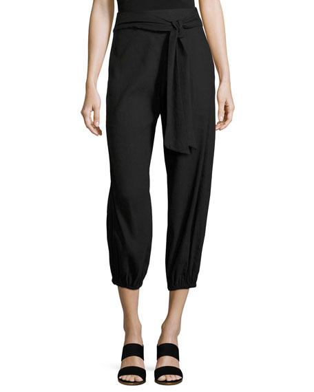 Alice + Olivia Braxton Tie-Waist Back-Zip Pants, Black