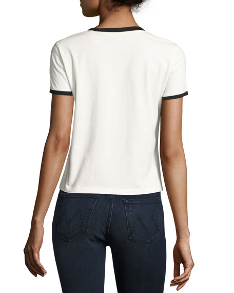 Dessie Made You Look Embroidered Cotton Ringer Tee, Multi