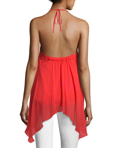 Tish Tie-Neck Handkerchief Top, Bright Red