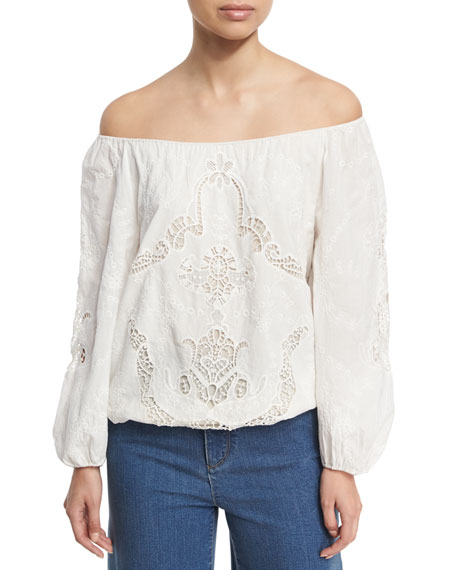 Alta Embroidered Cotton Peasant Top, White