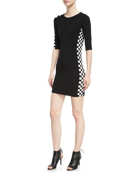 e6ef4a016eb Alexander Wang Checkerboard-Paneled Mini Dress