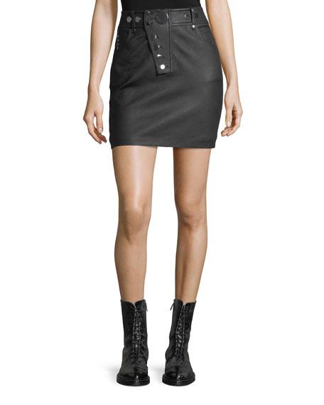 322c6dc274471 Alexander Wang High-Waist Leather Mini Skirt