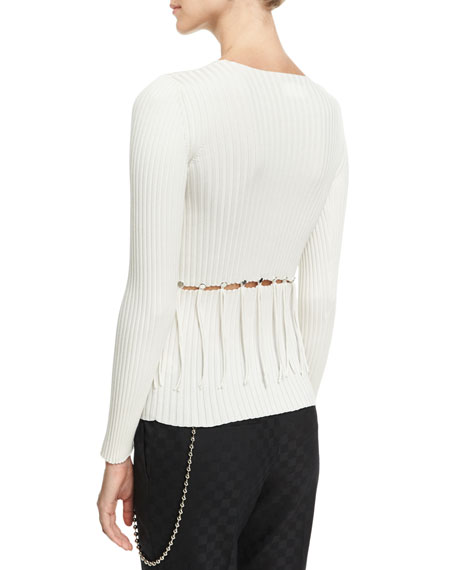 Ribbed Crewneck Cutout Sweater, Eggshell