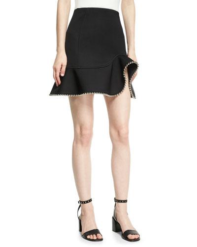 Chain-Trim Peplum Skirt, Onyx