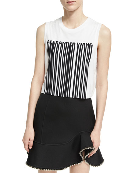 Logo Bar Code Crop Top, Eggshell