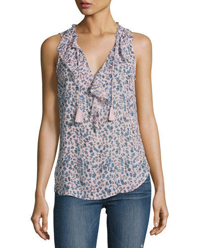 Alma Sleeveless Silk Top, Multi