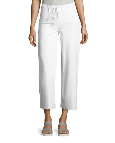 Lori Crop Drawstring Jeans, White