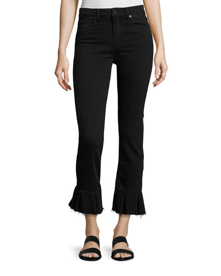 Rafaela Q Flared Raw-Hem Jeans, Black