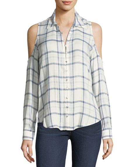 Bellini Plaid Cold-Shoulder Button-Front Shirt