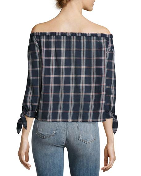 Antonia Plaid Cotton Top, Multi