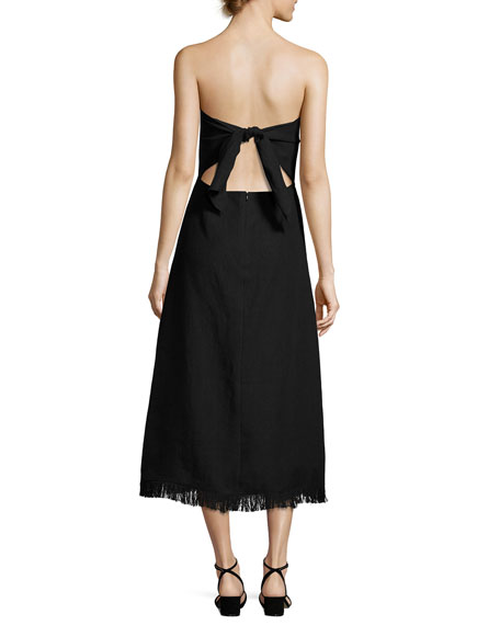 Phyly Strapless Linen Drape Midi Dress, Black