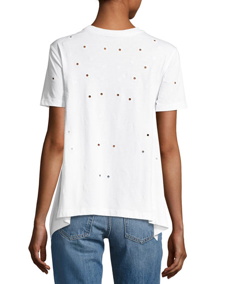 Ellie Eyelet Cotton Tee, White
