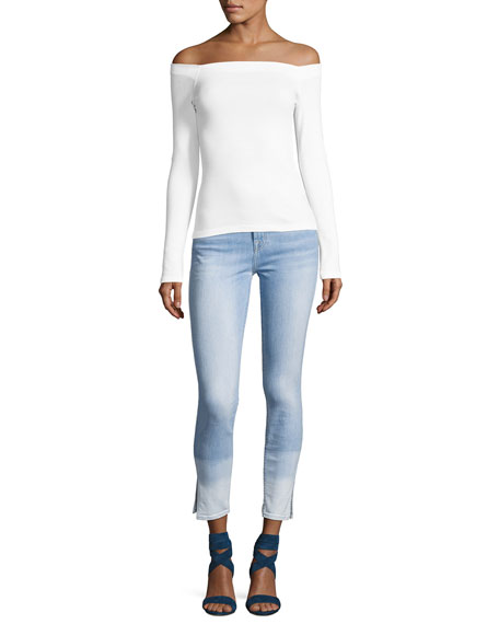 The Ankle Skinny Ocean Breeze Jeans W/Side Slit