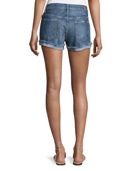 Raw-Cuffed Shorts W Aggressive Destroy, Indigo