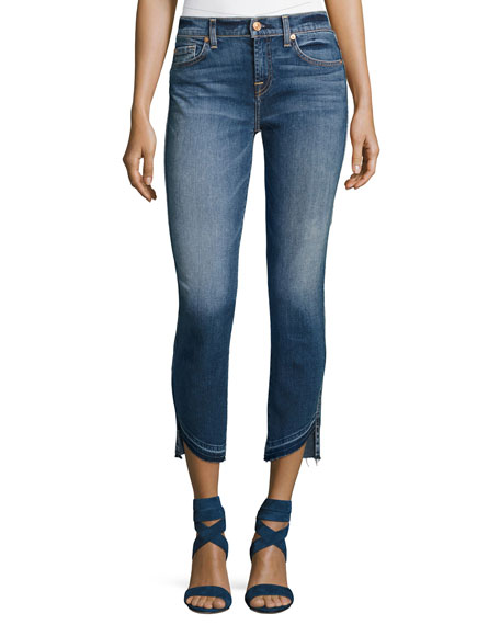 Roxanne Ankle Jeans w/ Asymmetric Released Hem, Indigo