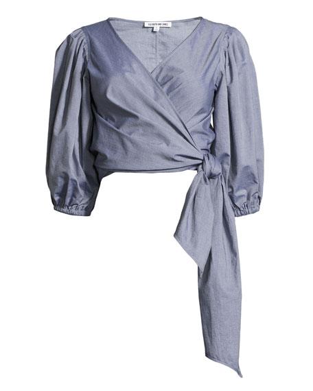 Farrah Side-Tie Wrap Cotton Top, Indigo