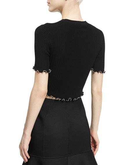 Ball Chain-Embellished Crop Top, Onyx