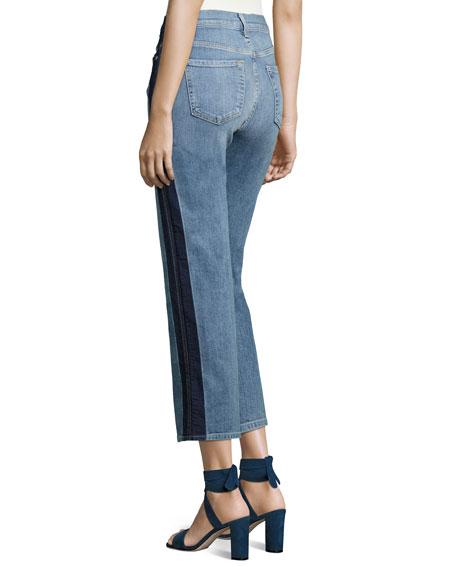 Kiki W/ Shadow Side Seam Wide-Leg Jeans, Indigo