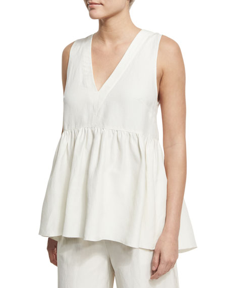 Elizabeth and James Gabby Deep V-Neck Ruched Top,