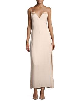 Jericho Double Spaghetti Strap Maxi Dress, Blush