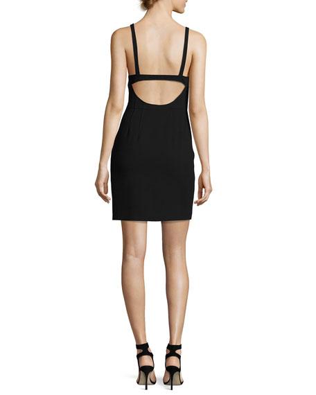 Huette Fitted Sleeveless Mini Sheath Dress, Black