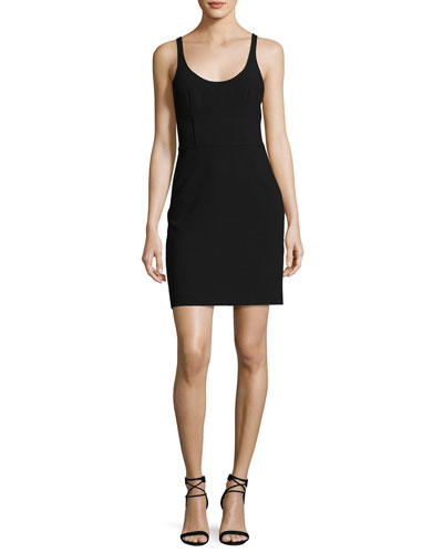 Huette Fitted Sleeveless Mini Sheath Dress, Black