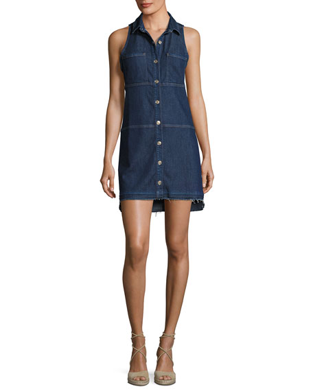 Sleeveless Dress W/ Step Hem, Indigo