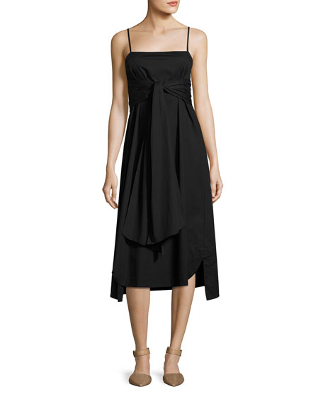 Oak Waist-Tie Poplin Midi Dress, Black
