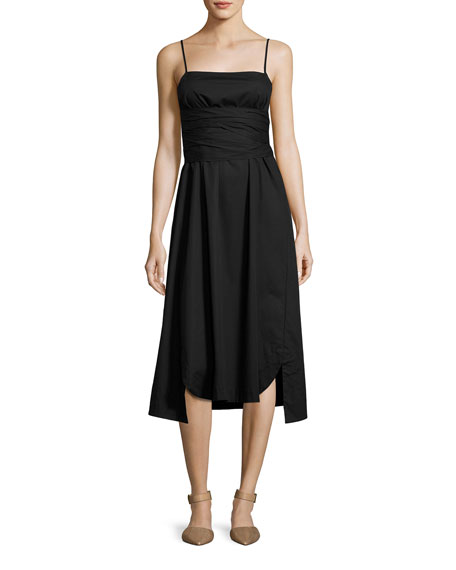 Elizabeth and James Oak Waist-Tie Poplin Midi Dress,