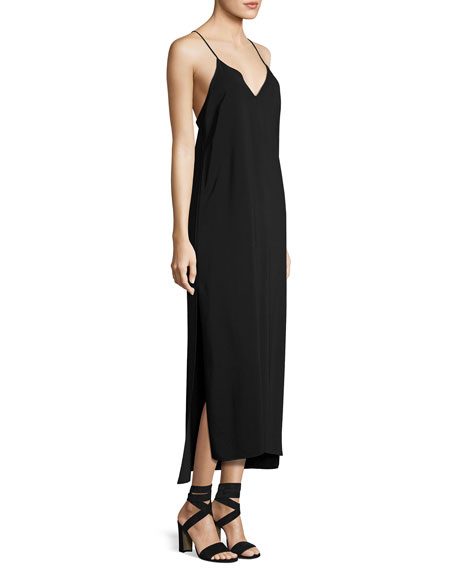 Dara V-Neck Sleeveless Slip-Style Dress, Black