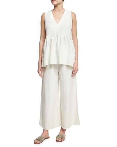 Halsey Wide-Leg Drawstring Pants, Ivory