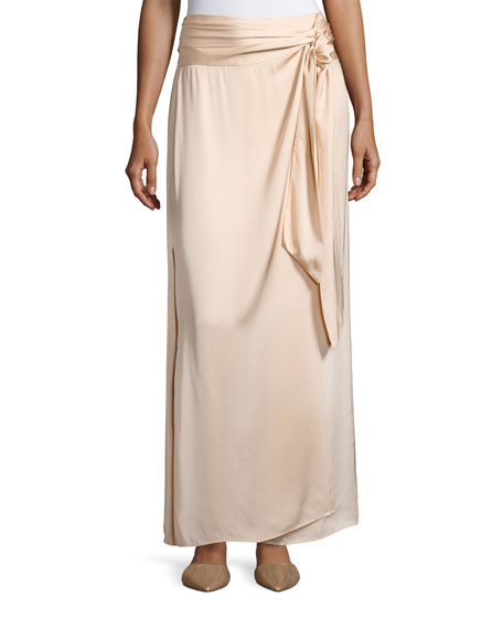 Almeria Wrap-Tie Maxi Skirt W/ Slit, Blush