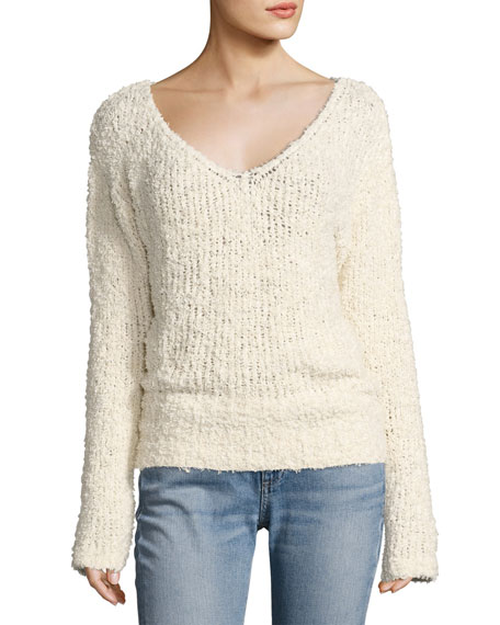 Wyatt Open V-Neck Pullover Sweater, Ivory