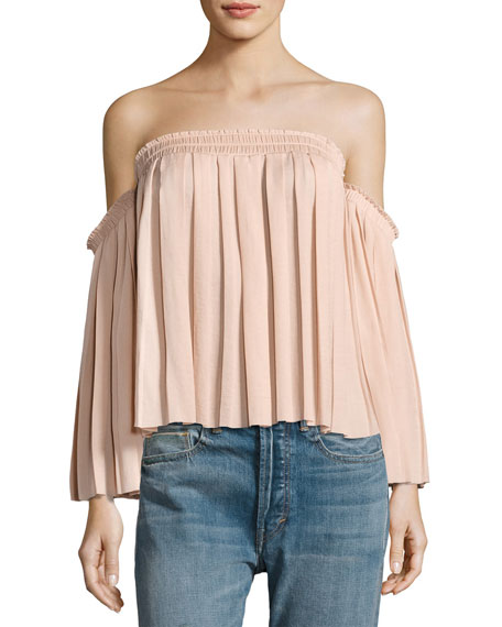 Emelyn Off-the-Shoulder Pleated Top, Light Beige