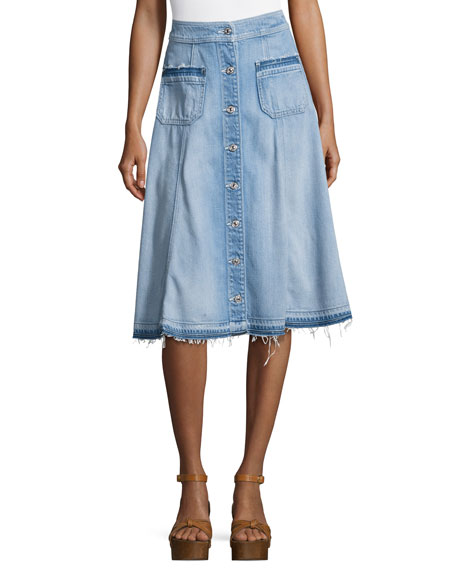 Button-Front Flowy Denim Midi Skirt, Indigo