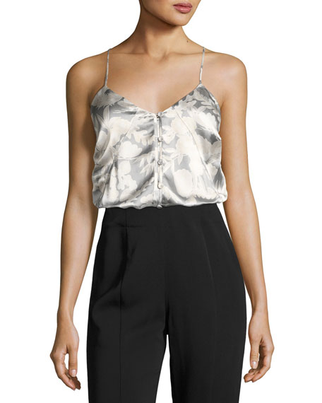 Carlo P. Button-Down Silk Camisole Tank, White