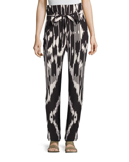 Gunilla Interlace Ikat Silk Pants, Multi