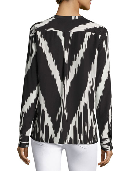 Isalva Ikat-Print Long-Sleeve Silk Blouse