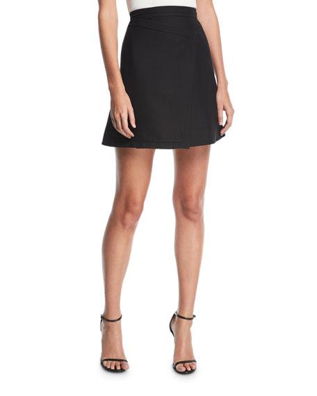 High-Waist Asymmetric Wool-Blend A-Line Skirt