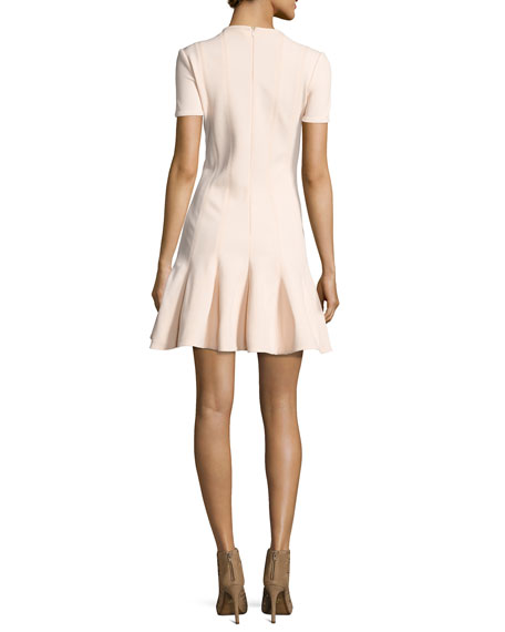 Short Sleeve Mini Dress, Beige