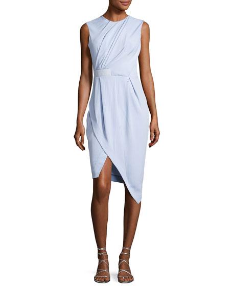 Draped Half-Belt Dress, Light Blue