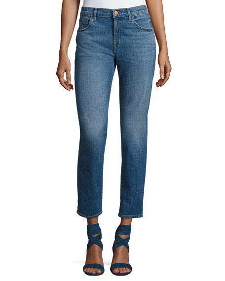 J Brand Johnny Mid-Rise Boy-Fit Jeans, Blue