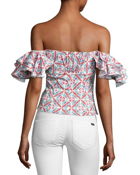 Louisa Printed Cotton Top, Pink