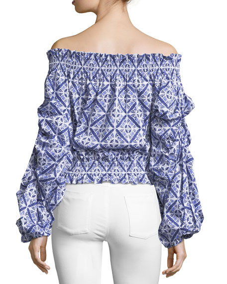 Lorena Printed Off-the-Shoulder Poplin Blouse