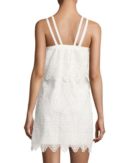 Abergreen Embroidered Organza Mini Dress, White