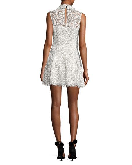 Catherine Mock-Neck Lace Mini Dress, White
