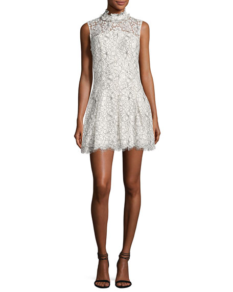 Likely Catherine Mock-Neck Lace Mini Dress, White