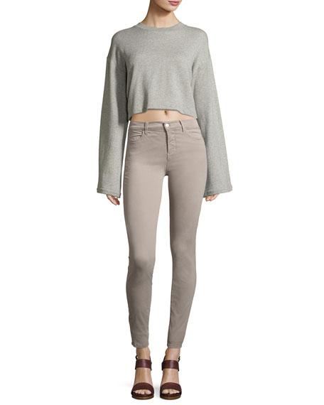 Maria High-Rise Sateen Super Skinny Pants, Light Gray